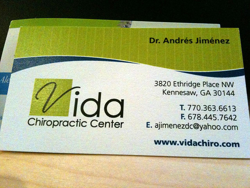 4 business cards from georgia planet chiropractic vida chiropractic center reheart Choice Image