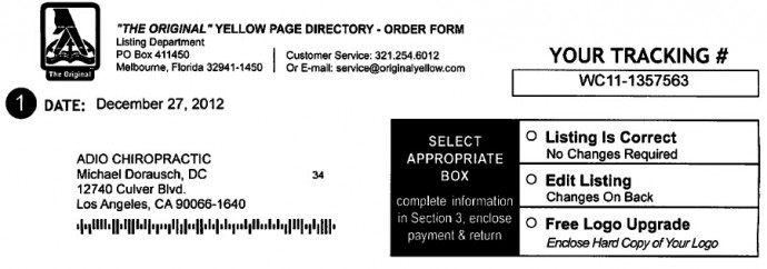 yellow pages order form