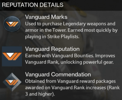 vanguard commendation reward