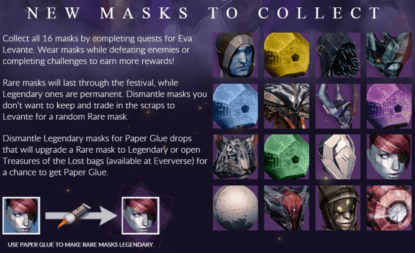 paper glue masks destiny