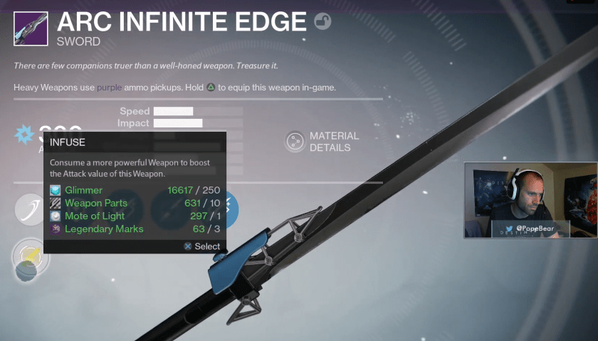 Taken King Infinite Edge Arc sword