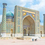 The Registan Square is the best place to discover  the old Uzbek architecture and to enjoy the great mosaic decorations, Samarkand, Uzbekistan.