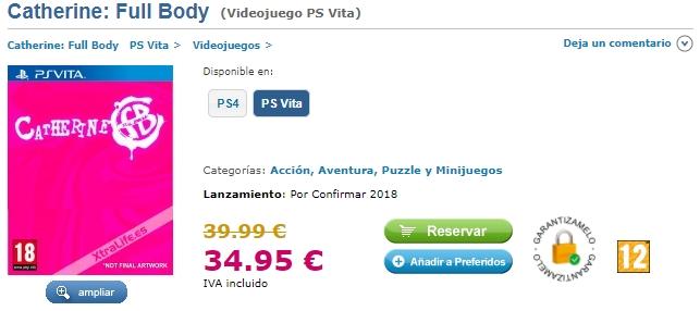Catherine Full Body listé en boîte par le site espagnol XtraLife.es sur PS Vita.