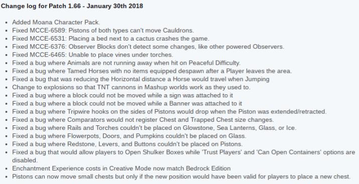 Minecraft PSVita update 1.66