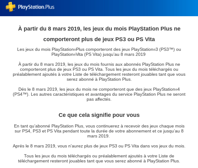 PlayStation Plus fin sur PS Vita & PS3 le 8 mars 2019