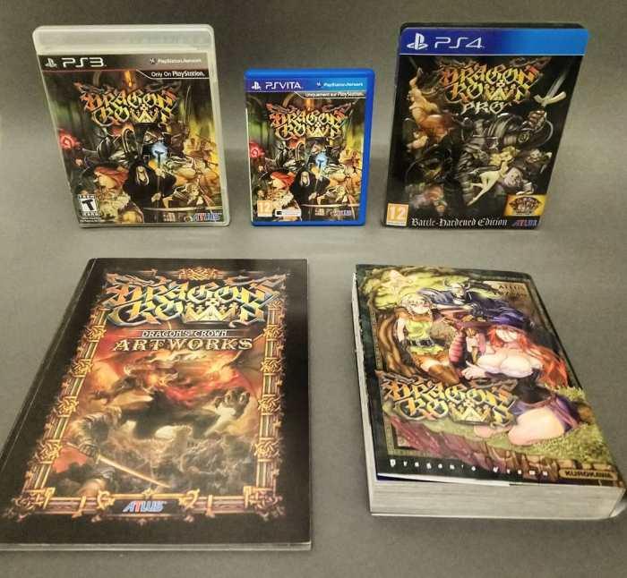 Dragon's Crown est disponible en boîte sur PS3, PS Vita et PS4. Un livre d'artwork était proposé parfois avec la version PS3, et un manga de 374 pages accompagnait le lancement du jeu sur PS4.