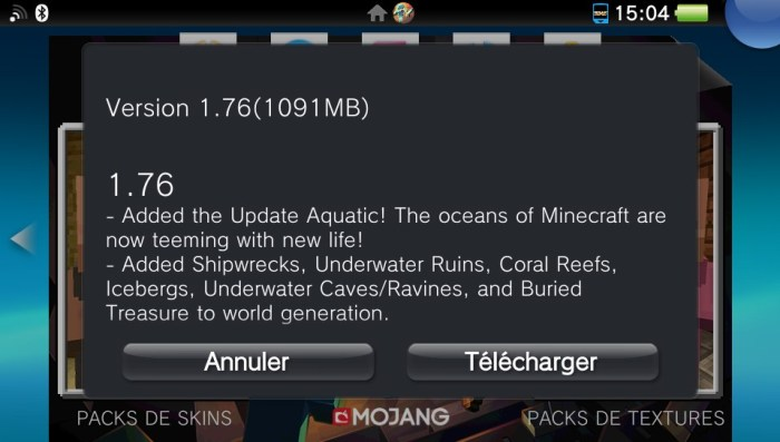 Minecraft PS Vita mise à jour Aquatic disponible