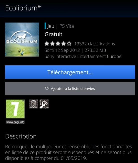 Ecolibrium arrêt des services online sur PS Vita