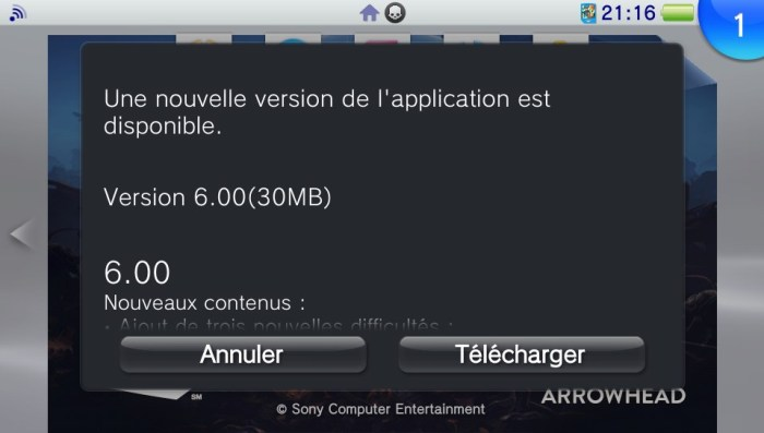 Helldivers mise à jour 6.00 PS Vita