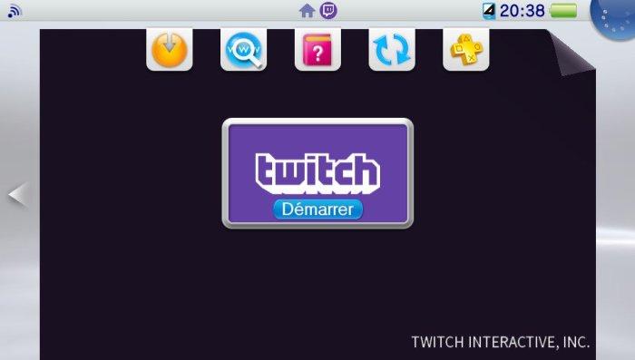 Live Area de Twitch sur PS Vita