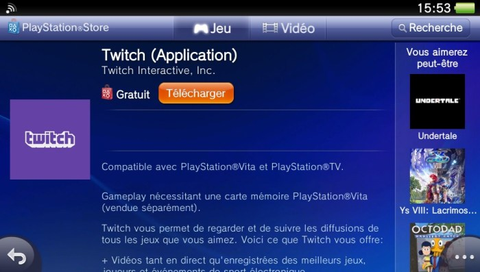 PlayStation Store sur PS Vita