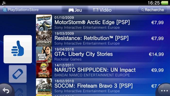 Jeux PSP sur PS Vita