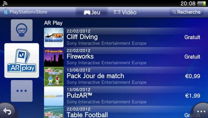 Les jeux en Réalité Augmentée (AR) sur le PlayStation Store de la PS Vita