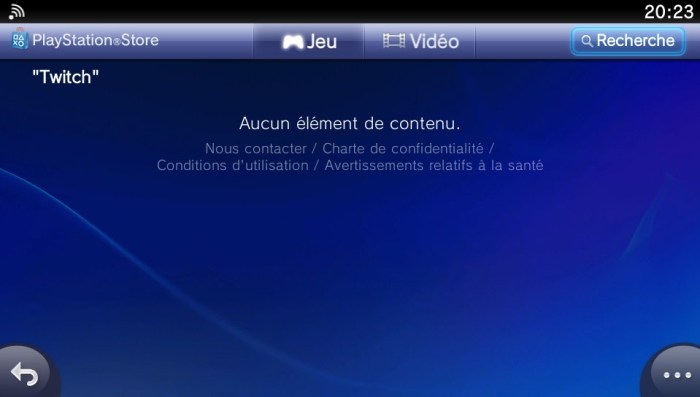 Twitch introuvable sur le PlayStation Store