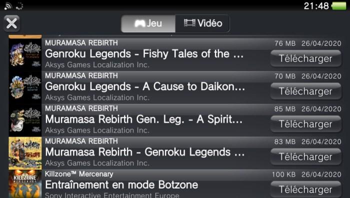 Liste de téléchargements PS Vita