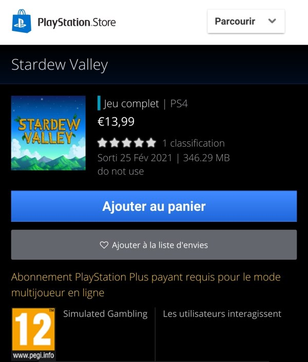 Stardew Valley PlayStation Store