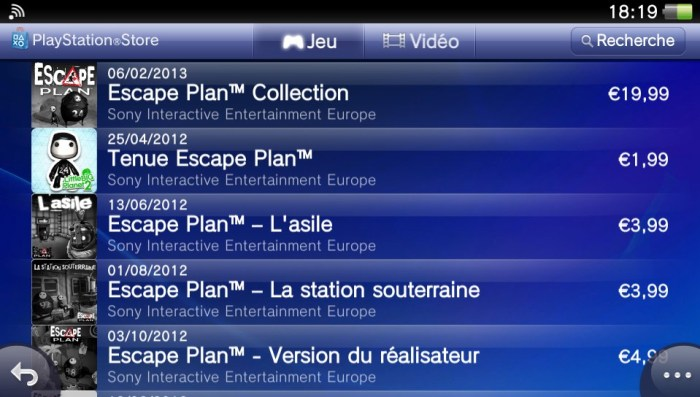 Escape Plan DLC PS Vita