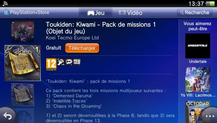 Toukiden DLC PS Vita