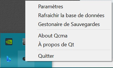 Menu contextuel de QCMA sur Windows