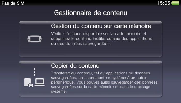Gestionnaire de contenu PS Vita