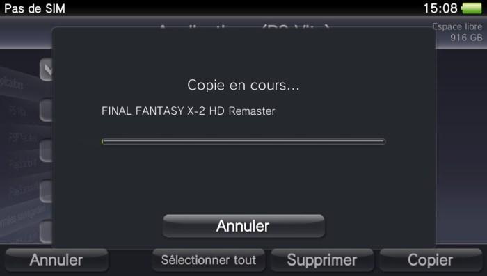 Copie PS Vita vers PC