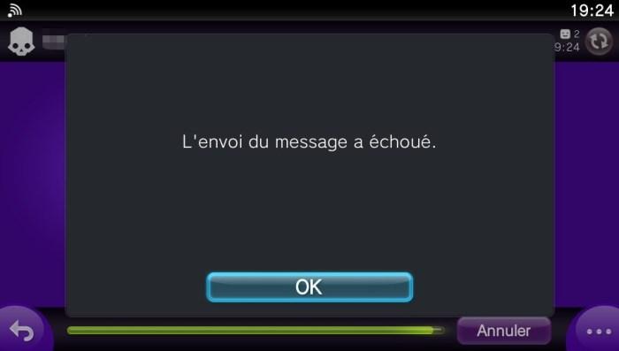 L'envoi du message a échoué.