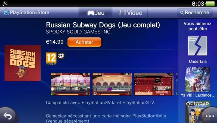 Russian Subway Dogs PlayStation Store PS Vita