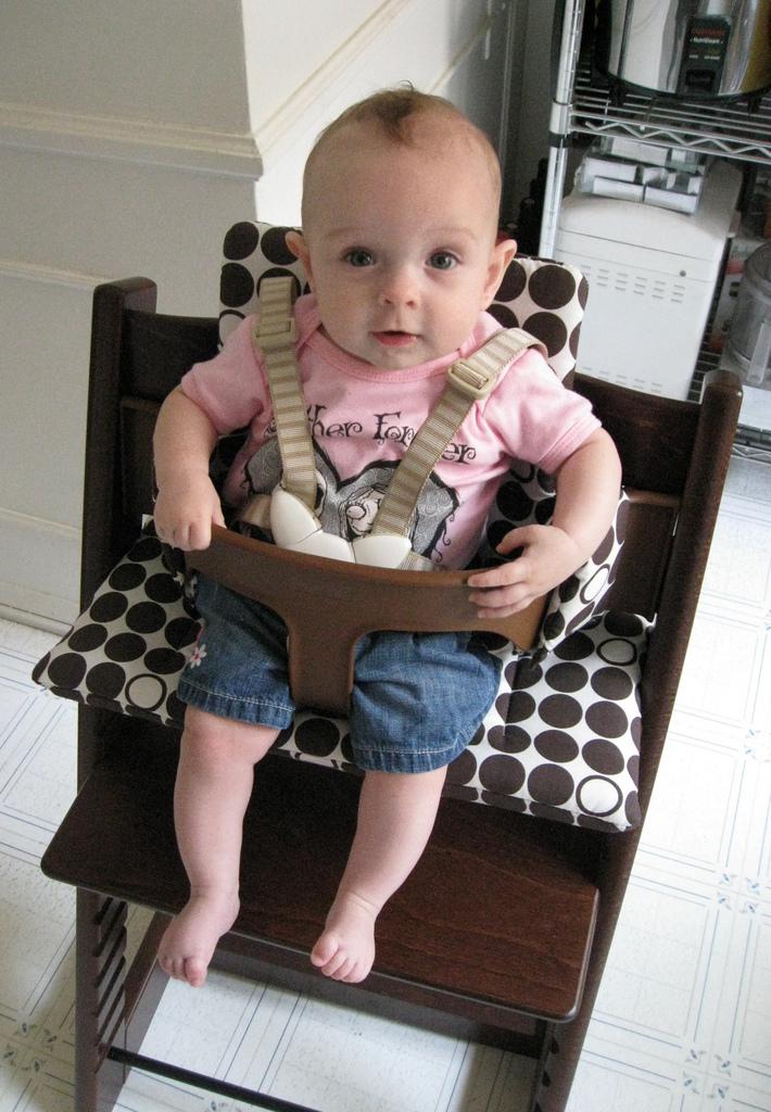 Greta in her new Stokke Tripp Trapp high chair #1