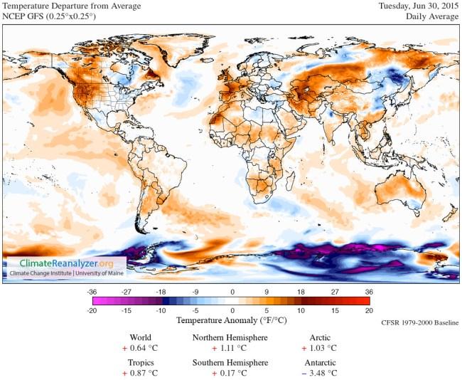 Temperature Anomaly Map June 30 2015