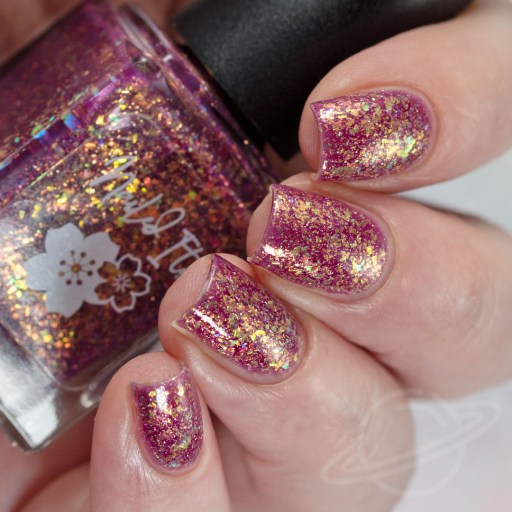 4 finger swatch of Nailed It Nail Polish Love Bug one of four polishes in the Candygram Collection