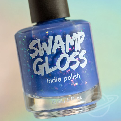 Nail polish bottle picture of I'm Gonna Ignore Your Advice - a periwinkle crelly with iridescent flakies nail polish by brand Swamp Gloss from The Charity Box Book Club February 2021