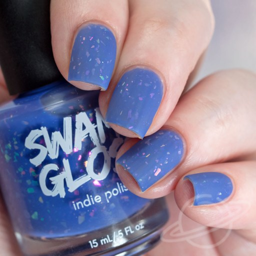 4 Finger nail swatch of I'm Gonna Ignore Your Advice - a periwinkle crelly with iridescent flakies nail polish by brand Swamp Gloss from The Charity Box Book Club February 2021 Matte