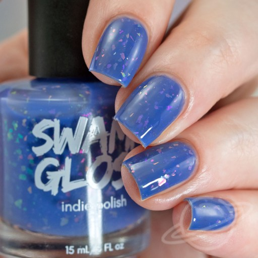 4 Finger nail swatch of I'm Gonna Ignore Your Advice - a periwinkle crelly with iridescent flakies nail polish by brand Swamp Gloss from The Charity Box Book Club February 2021