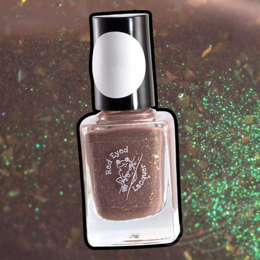 Picture of nail polish bottle created by Red Eyed Lacquer Smore Peeps Please - A brown crelly with lime green shifting shimmer and gold shifting flakies