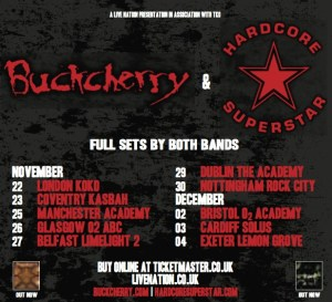 Buckcherry + Hardcore Superstar UK Tour Poster