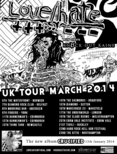 Jizzy Pearl's Love/Hate UK Tour dates 2014.
