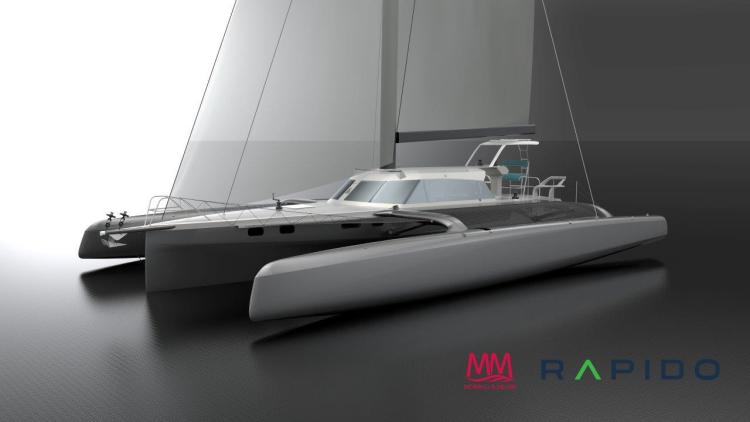 Render drawing of Rapido 50 from the starboard bow