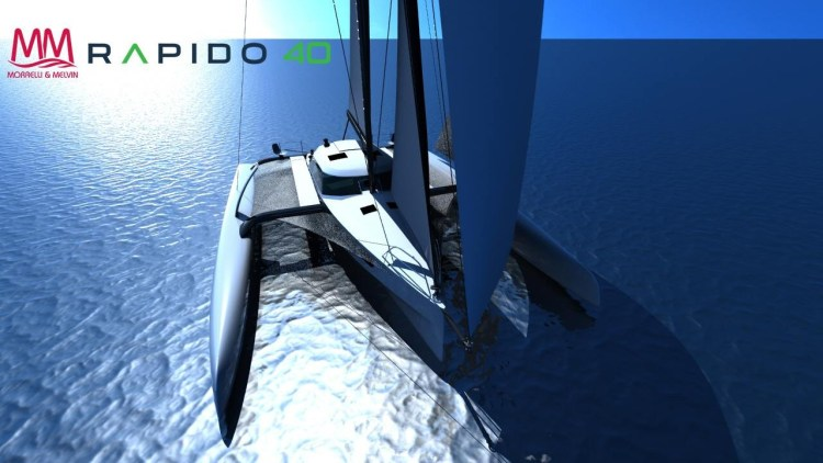 Rendered drawing of Rapido 40 under sail from above