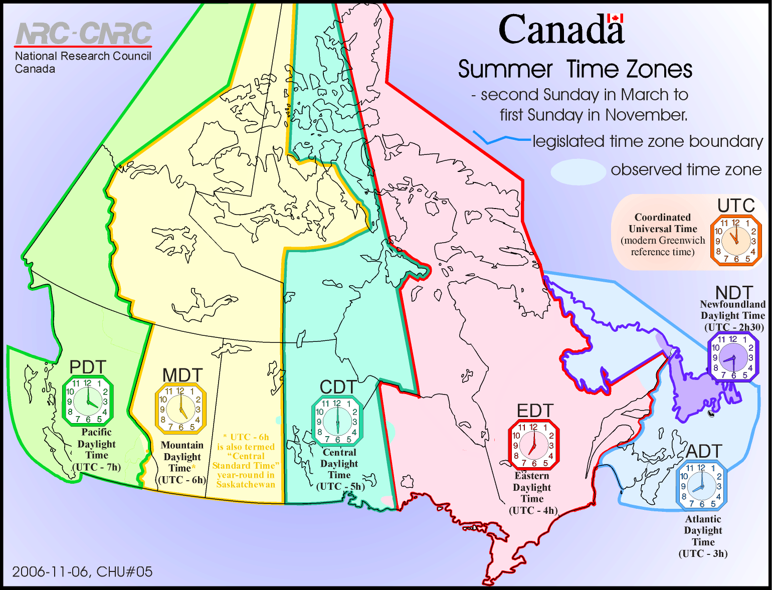 Map Of Time Zones Of Canada Summer Time Time Zones Of
