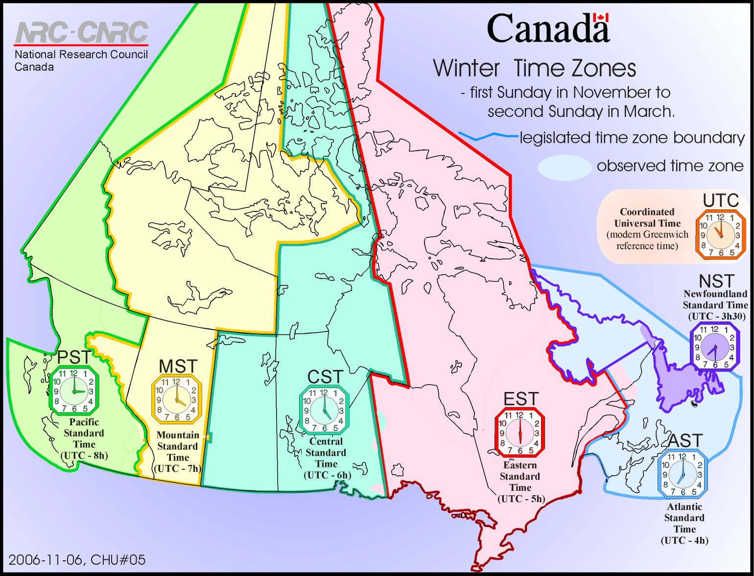 Map Of Time Zones Of Canada Standard Time Time Zones Of