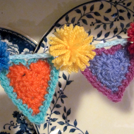 Hearts and Pompom Bunting detail - Planet Penny