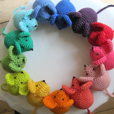 a ring of crochet mice