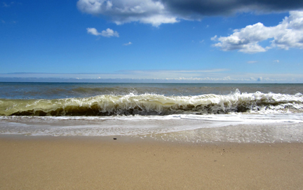 Waves breaking on a North Norfolk Beach