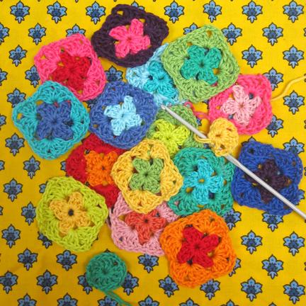 Crochet 'Granny' squares on Provencal Print