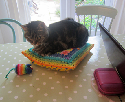 Tabby Cat on Crochet cushion