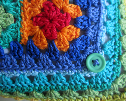Planet Penny Cotton Cushion detail with button