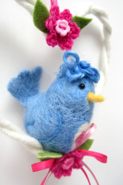 Blue needlefelt Love Bird in a lambswool heart