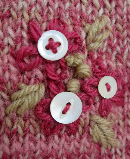 wool embroidery with buttons