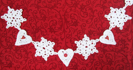 Crochet Christmas Garland hearts and snowflakes