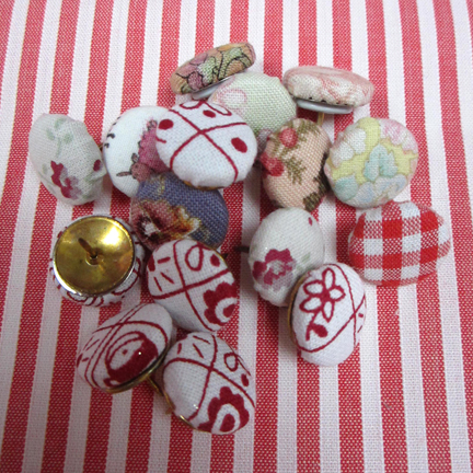 fabric covered thumb tacks Advent Calendar Day Six